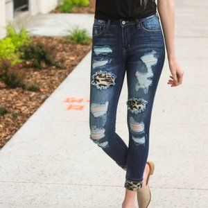 KanCan Leopard Patch Mid-Rise Super Skinny Jeans
